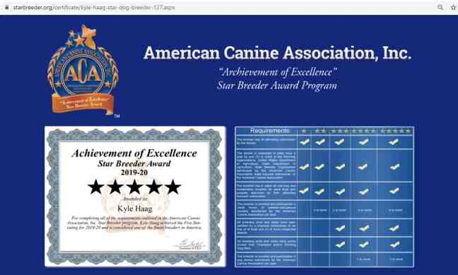 Kyle Haag Star dog breeder certificate